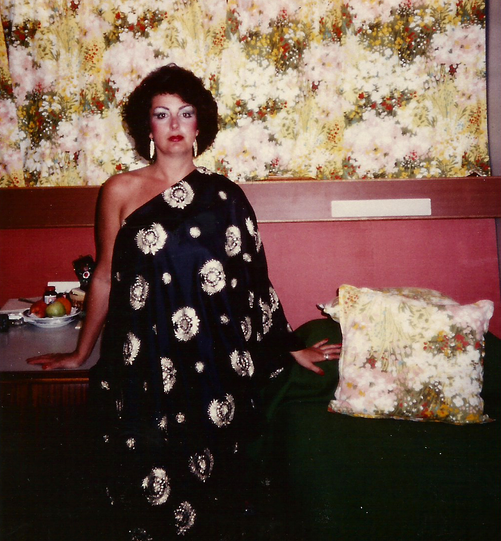 "Janice all dressed up for ""A Night at the Opera"" concert, Norwegian American Vistafjord, 1983"