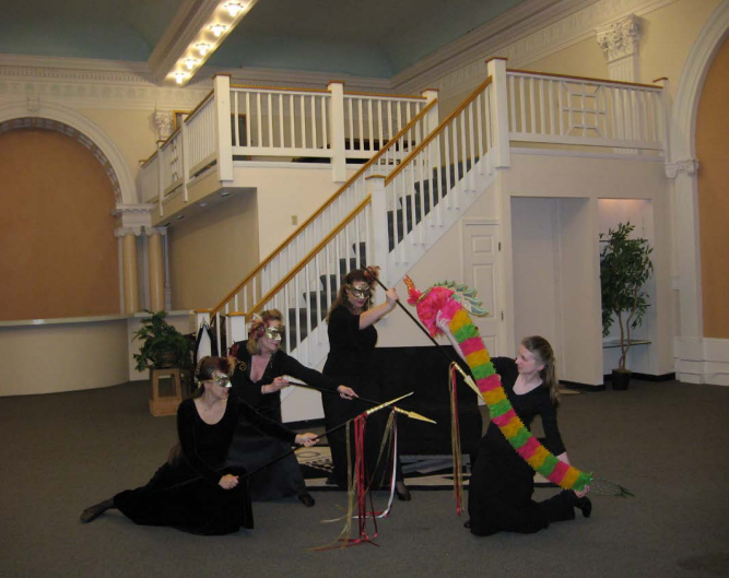 """The Magic Flute"" – The Three Ladies (Rebecca Polito, Joelyn Suprum, Anna Dwyer, with Melany White as the Dragon"