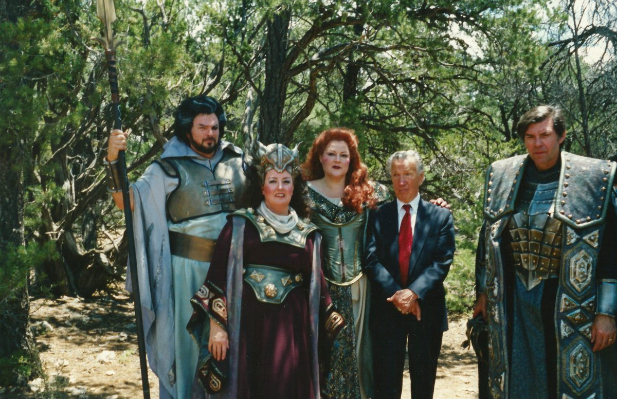Das Rheingold, Die Walküre, 1996 – Cast members outdoors – Clayton Brainerd as Wotan, Janice as Fricka, Karen Bureau as Brünnhilde, General Director Glen Ross, Edwards Crafts as Wotan