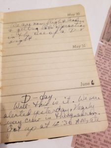 Diary page about D-Day WWII