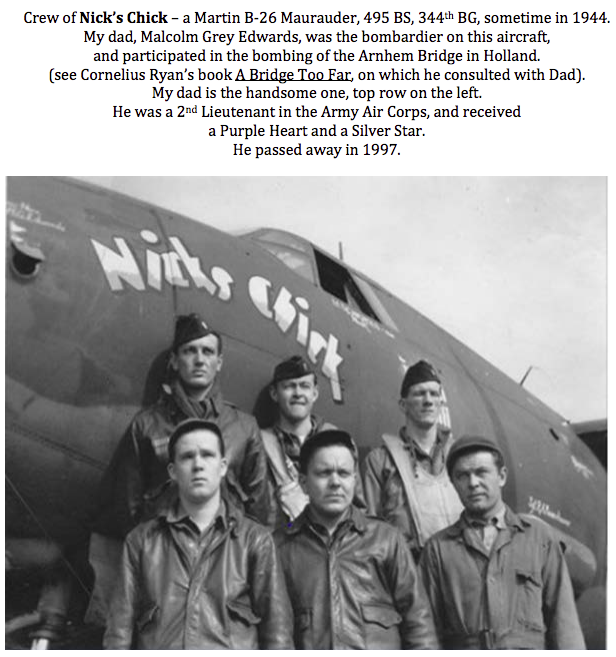 Dad's B-26 crew - they named the aircraft Nick's Chick
