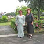Janice & Joy off to Rheingold, in front of our hotel, the Hotel Fantaisie, just outside Bayreuth