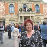 Janice in front of the Festspielhaus, during the Walküre intermission