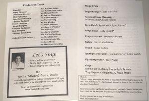 Janice Edwards Voice Studio ad in the Pinkerton Singin' in the Rain program