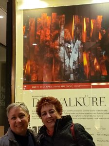 Janice and Anne in front of Die Walkure poster in NYC