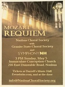 Mozart Requiem Program for Granite State Choral Society