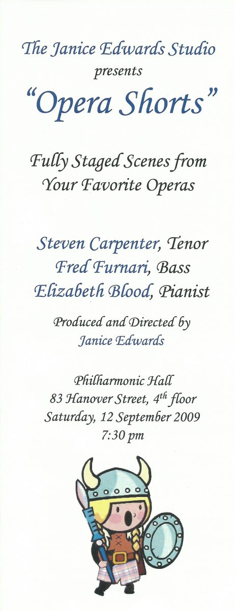 """Opera Shorts"" - A Janice Edwards Production"