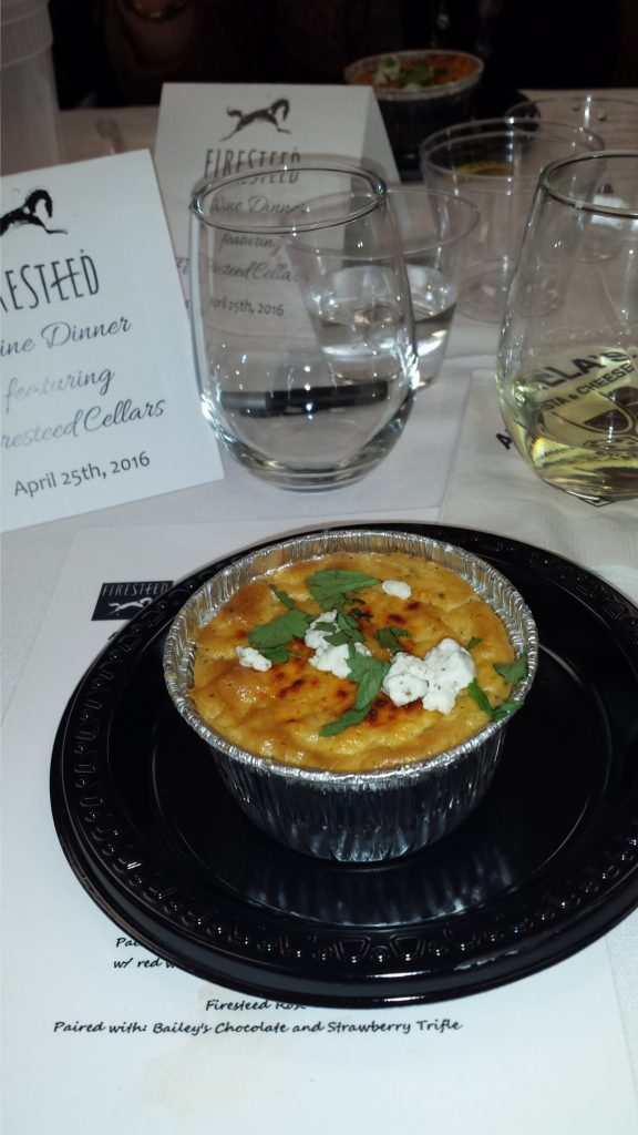 Smoked chicken, roasted poblano and goat cheese souffle